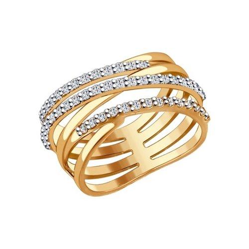 Кольцо из золочёного серебра с фианитами (93010582) - фото
