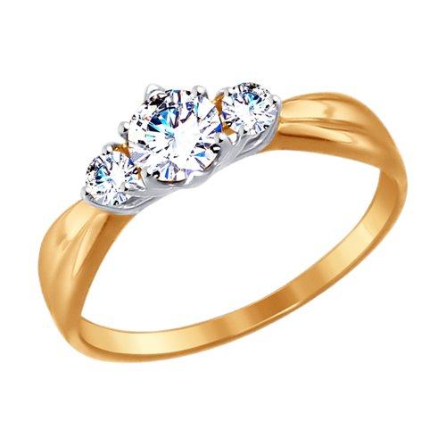 Кольцо из золота с фианитами (017496) - фото
