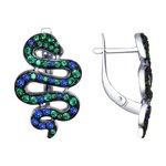 Серьги «Змеи» с фианитами