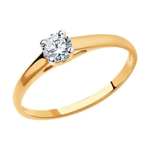 Кольцо из золочёного серебра со Swarovski Zirconia (89010091) - фото