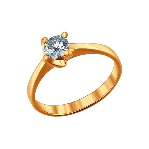Помолвочное кольцо из золочёного серебра с фианитом