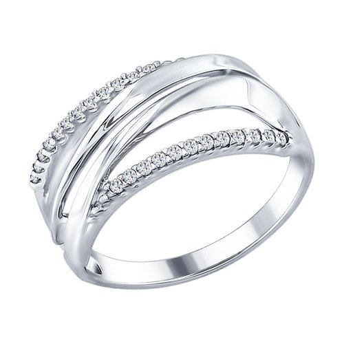 Кольцо из серебра с фианитами (94012313) - фото