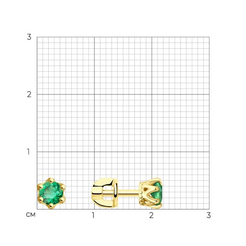 Серьги из желтого золота с зелеными фианитами