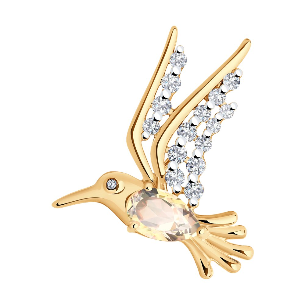 Брошь SOKOLOV из золота с топазом Swarovski и Swarovski Zirconia модели swarovski swarovski facet лебедь женской розовое золото покрыло лебедь брошь 5297353