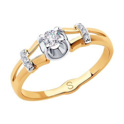 Кольцо из золота с фианитами (018298) - фото