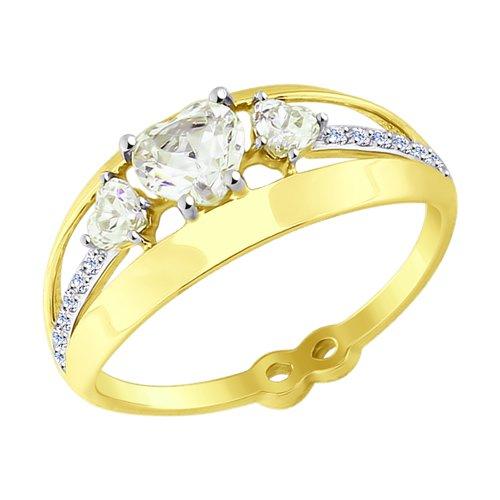 Кольцо из желтого золота с фианитами (017594-2) - фото