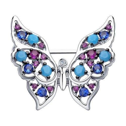 Брошь из серебра с голубыми ситаллами и фианитами (83040016) - фото