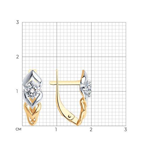 Серьги из золота с фианитами (027233) - фото №2