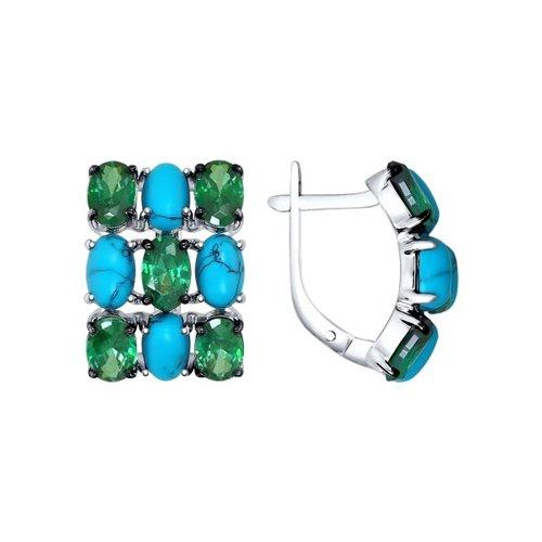 Серьги из серебра с бирюзой (синт.) и зелёными фианитами