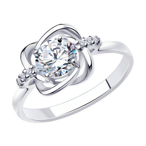 Кольцо из серебра с фианитами (94012693) - фото