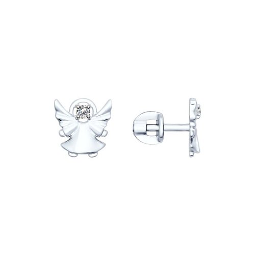 Серьги-пусеты «Ангел» из серебра с фианитами вышел ангел из тумана