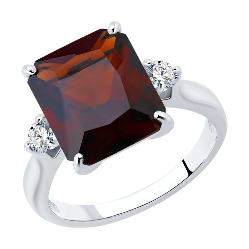 Кольцо из серебра с красным ситаллом и фианитами (92011270) - фото