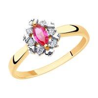 Кольцо из золота с красными корундами и фианитами