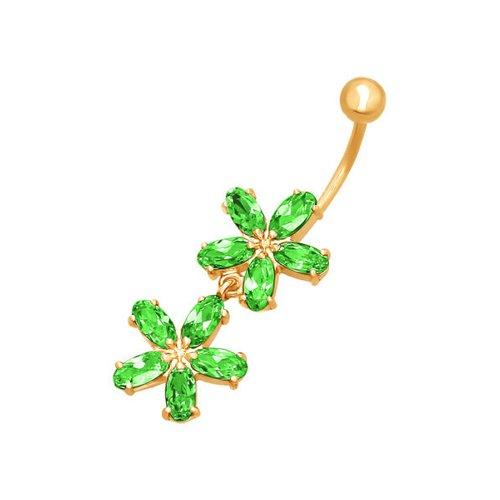 ювелирные серьги маркиз пирсинг в пупок Пирсинг в пупок c зелеными фианитами «Анемоны» SOKOLOV