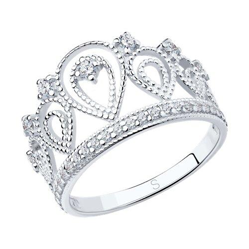Кольцо «Корона» из серебра с фианитами