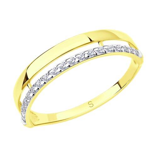 Кольцо из желтого золота с фианитами (017185-2) - фото