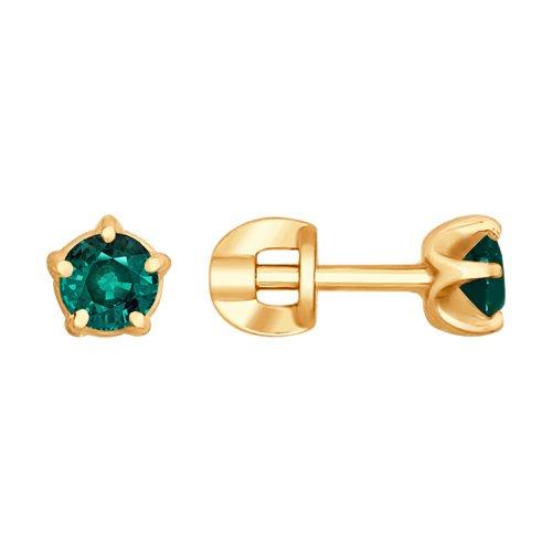 Серьги из золота с изумрудами (3020437) - фото