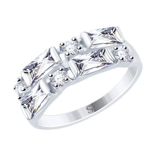 Кольцо из серебра с фианитами (94012457) - фото