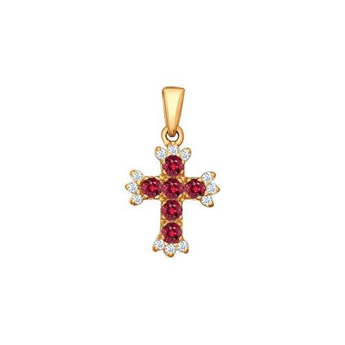 Крест из золота с бриллиантами и рубинами