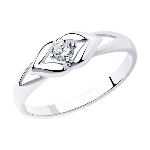 Кольцо из серебра с фианитом (94011585) - фото