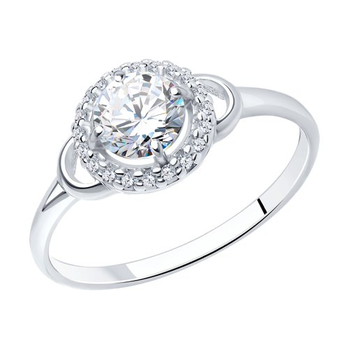 Кольцо из серебра с фианитами (94012742) - фото
