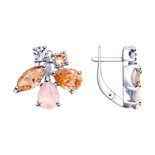 Серьги из серебра с розовыми кристаллами Swarovski