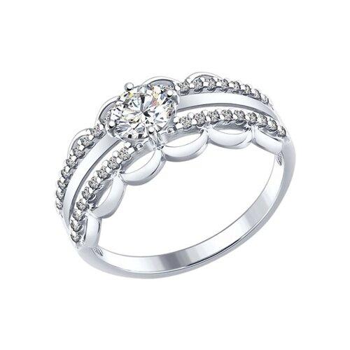 Кольцо из серебра с фианитами (94012240) - фото