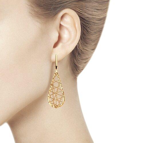 Серьги из золота с алмазной гранью (028718) - фото №3