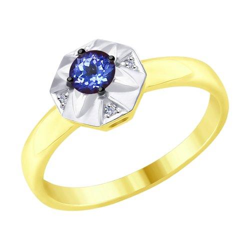 Кольцо из желтого золота с бриллиантами и танзанитом (6014052-2) - фото