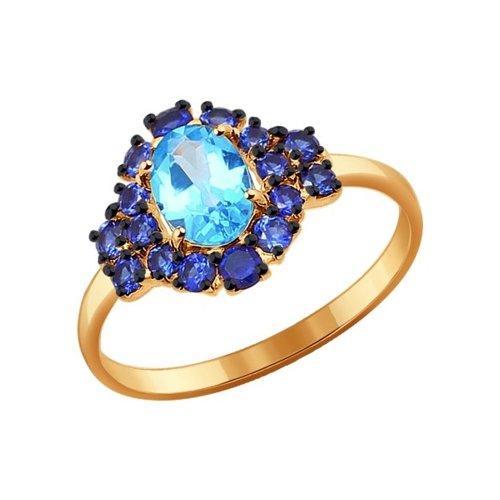Кольцо из золота с корундами сапфировыми (синт.) и топазом