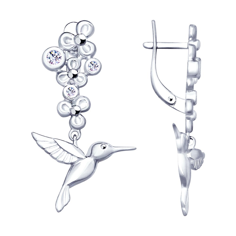 Серебряные серьги «Колибри» SOKOLOV