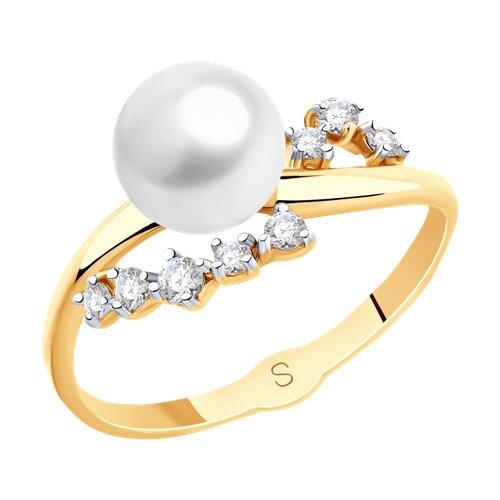 Кольцо из золота с жемчугом и фианитами (791119) - фото