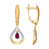 Серьги из золота с бриллиантами и рубинами