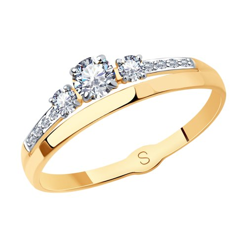 Кольцо из золота с фианитами (017891) - фото