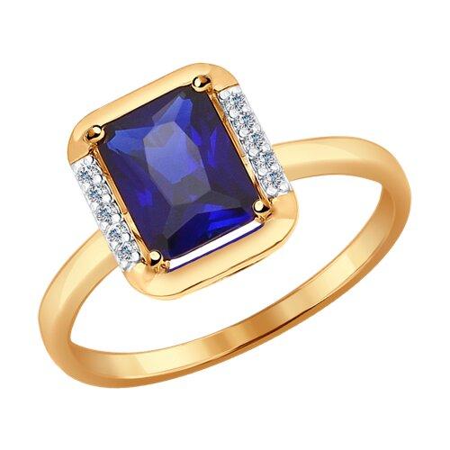 Кольцо из золота с синим корундом (синт.) и фианитами (37714318) - фото