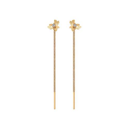 Серьги-цепочки из золота с алмазной гранью с фианитами