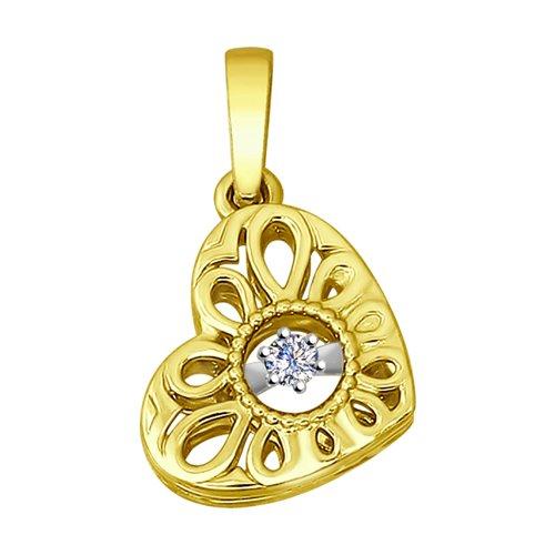 Подвеска из желтого золота с бриллиантом (1030603-2) - фото