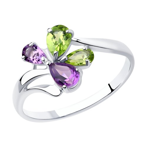 Кольцо из серебра с полудрагоценными вставками (92011826) - фото