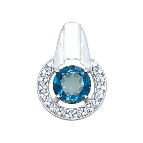 Подвеска из серебра с синим топазом и фианитами
