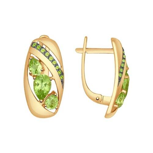 Серьги из золота с хризолитами и зелеными фианитами