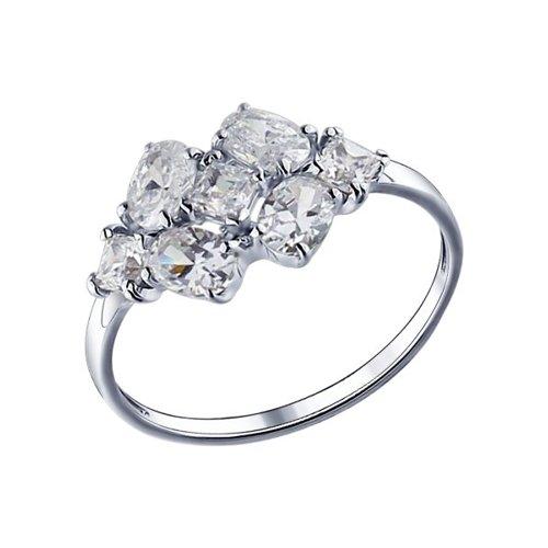 Кольцо из серебра с фианитами (94011485) - фото
