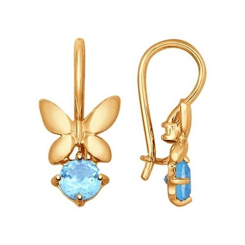 Серьги «Бабочки» из золота с топазами
