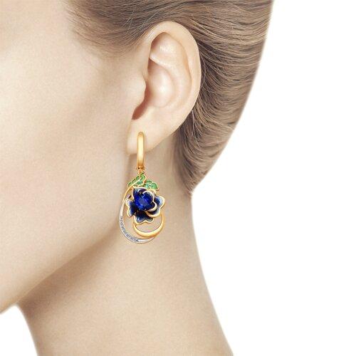 Серьги из золота с эмалью и бриллиантами и сапфирами