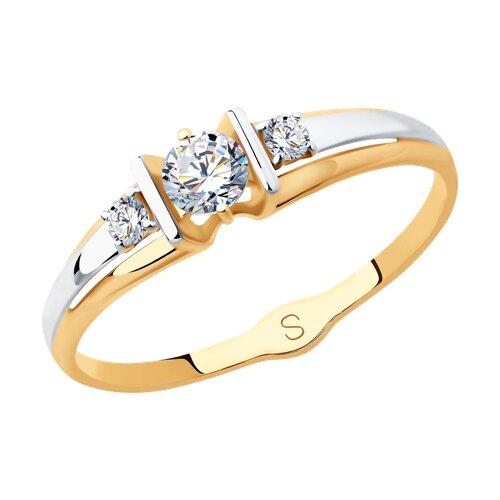 Кольцо из золота с фианитами (017846) - фото