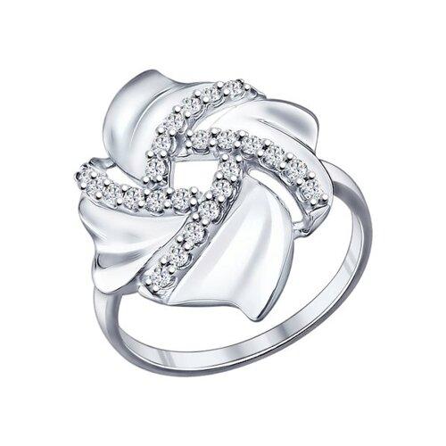 Кольцо из серебра с фианитами (94011860) - фото