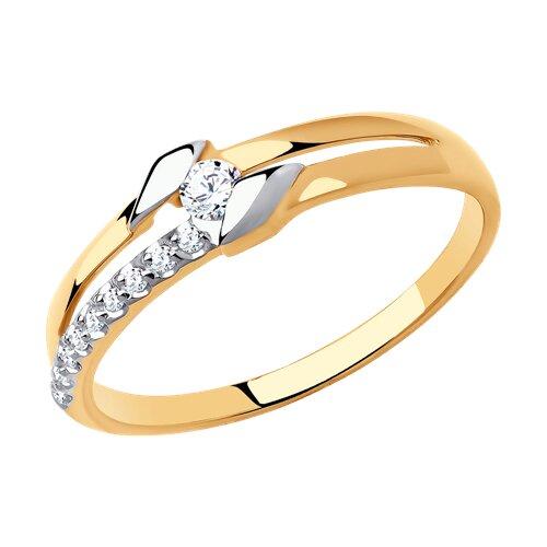 Кольцо из золота с фианитами (018572) - фото