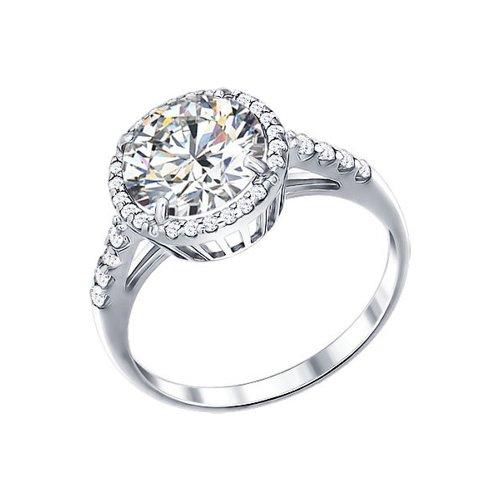 Белое серебряное кольцо с фианитами (94011237) - фото