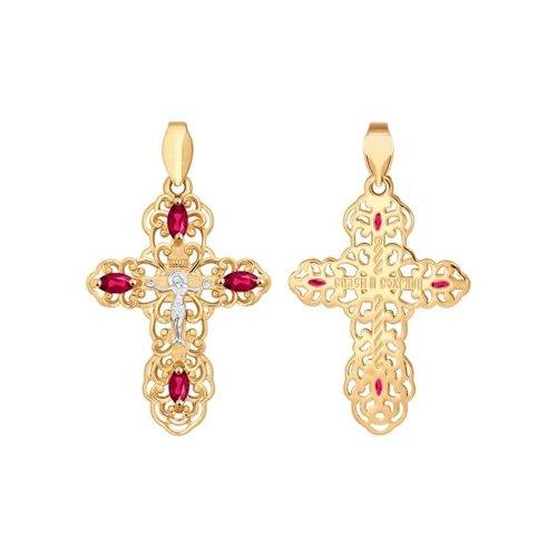 Крест из золота с красными фианитами