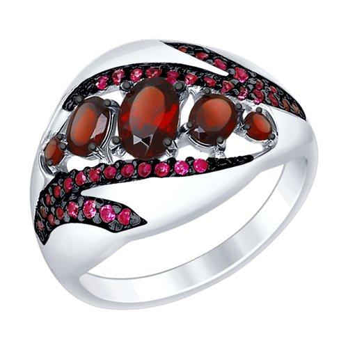 Кольцо из серебра с гранатами и красными фианитами (92011416) - фото
