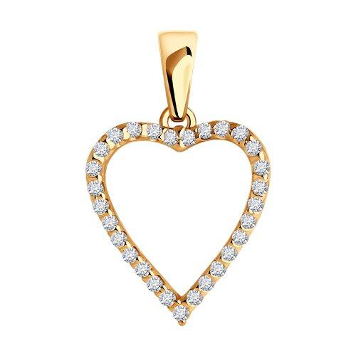 Подвеска в форме сердца SOKOLOV из золота с фианитами подвеска в форме клевера с фианитами